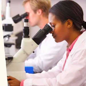 Scientist with microscope Translation of medical documents