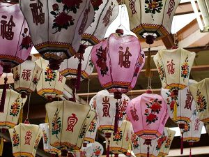 Chinese lanterns with chinese caligraphy