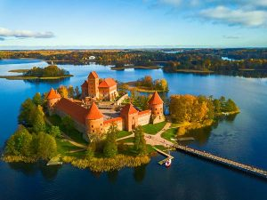 A castle on a lake in Lithuania
