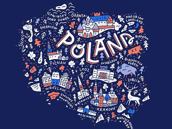 Cartoon-like map of poland with names of cities and drawings of buildings and animals