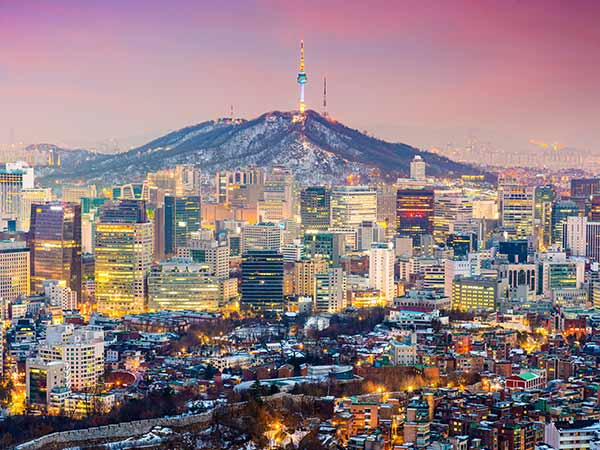 The skyscrapers of Seoul, South Korea at dusk