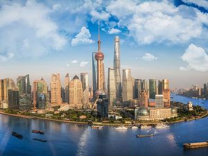 View of Shanghai skyscrapers across the river